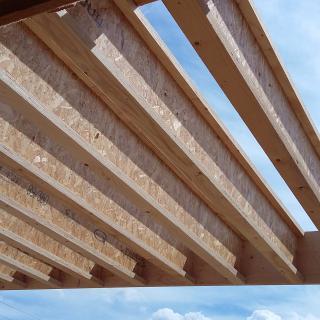 Réalisation construire bois Toiture terrasse en poutre I - Besancon - Maison d'Habitation