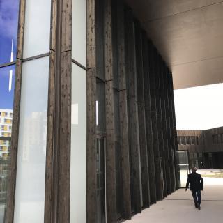 Réalisation construire bois Epines en LMC Douglas autoclavé CL3 gris - Ile de France - Lycée + Internat à Saint-Denis
