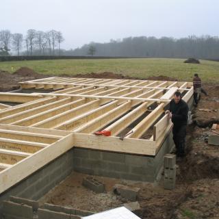 Réalisation construire bois Plancher sur vide Sanitaire poutre I - Beauvais